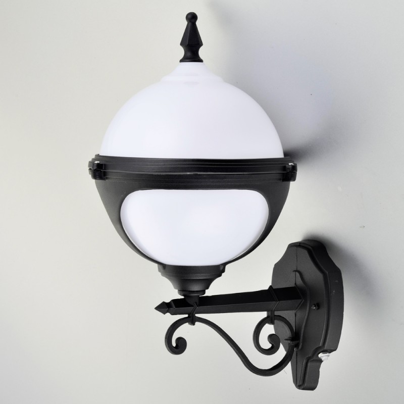 Mystic White Globe Wall Light With Photocell (Dusk To Dawn