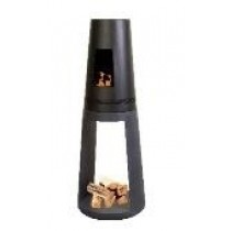 Tall Clay fibre console round + Metal Firebowl - Granite