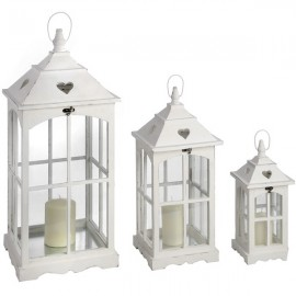 Set of Three Lanterns with Heart Cutout