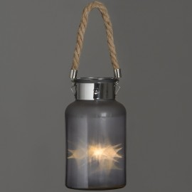 Frosted Glass Jar with Rope Detail and Interior LED Lights