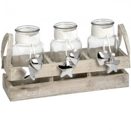 Set of Three Display Jars with Silver Heart