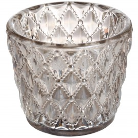 Small Diamond Design Grey Tealight Holder