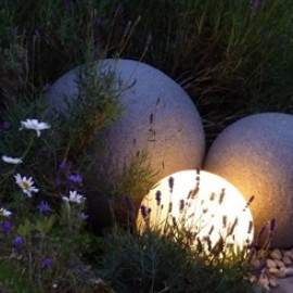 U0027Stoneu0027 Globe Lights Sandstone   Designer Garden Light 38cm