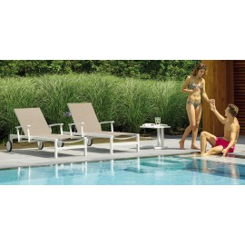 Anabel Sun loungers - White (Khaki cushion)