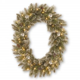 "Sparkling Pine 30"" Oval Artificial Wreath with Soft White LED lights (battery)"