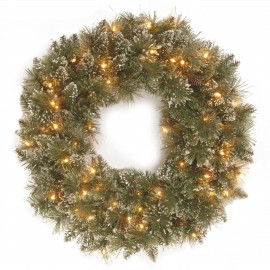 "Sparkling Pine 24"" Artificial Wreath with 50 Soft white battery LED lights"