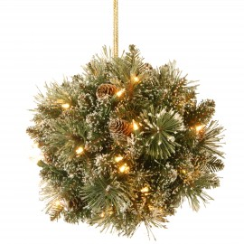 "Sparkling Pine 12"" Artificial Kissing Ball with Soft white battery lights"