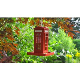 Traditional Red telephone box bird feeder