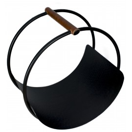 Leather Handle Round Log holder  - 43cm