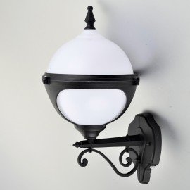 Mystic White Globe Wall Light with Photocell