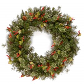 "Woodbury Pine 24"" Artificial Wreath with Cones, Berries and Snowflakes"