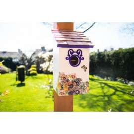 Printed Saltbox Birdhouse - Butterfly Plum