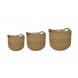 Set of 3 natural woven lined baskets