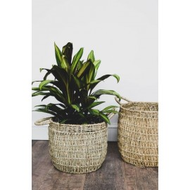 Seagrass lined basket in natural - Set of 2