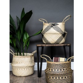 Seagrass diamond black lined basket