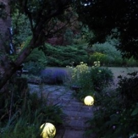 Weathered Stone Garden at Night