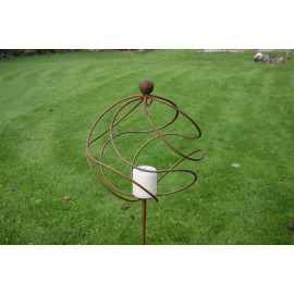 Tangle ball on 4ft stem with candle holder/hook