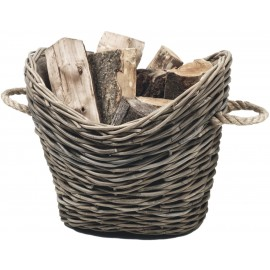 Wicker log basket -  oval, lined - 55cm