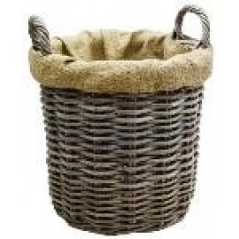 Wicker log basket -  round, lined - 35cm