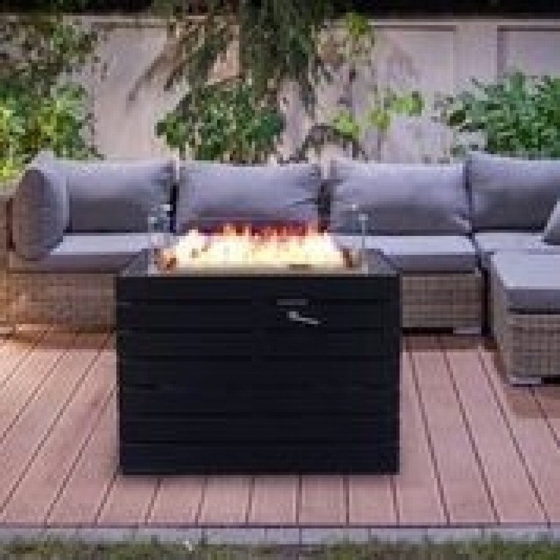 Muztag Q10 Outdoor Gas Fire Pit Table on decking