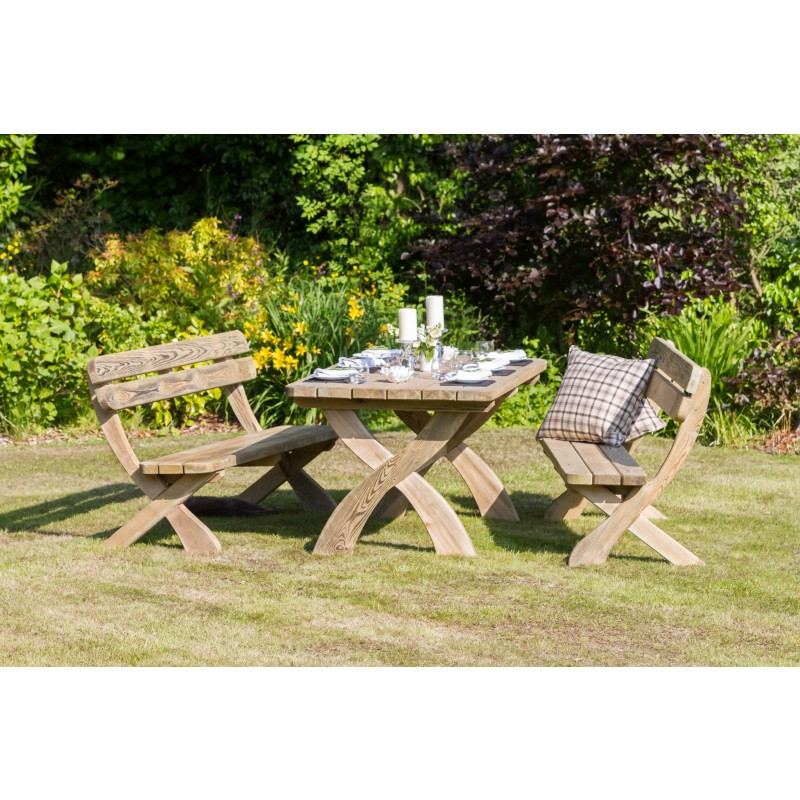 Harriet Garden Table and 2 Bench Set