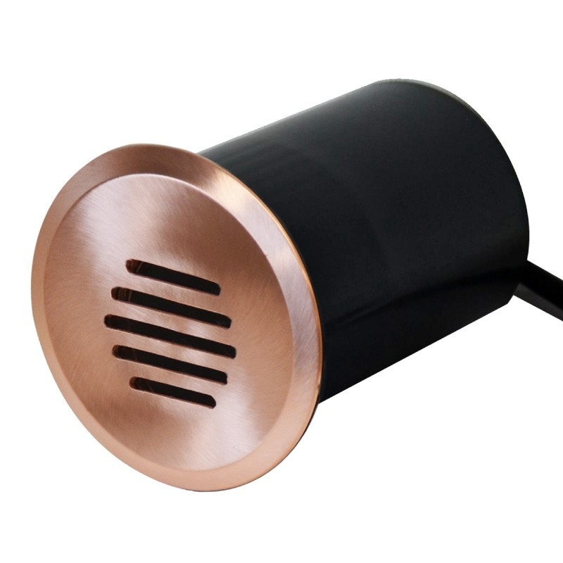 Linalite - 240v Louvered In-Wall, Step Light, In Ground Natural Copper Light