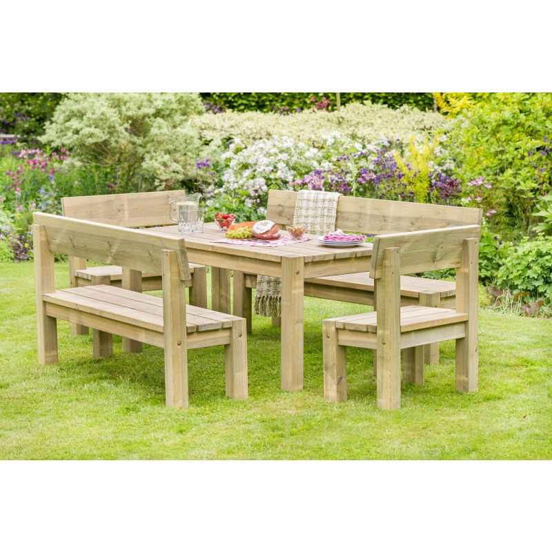 Philippa Table, 2 bench and 2 chair set