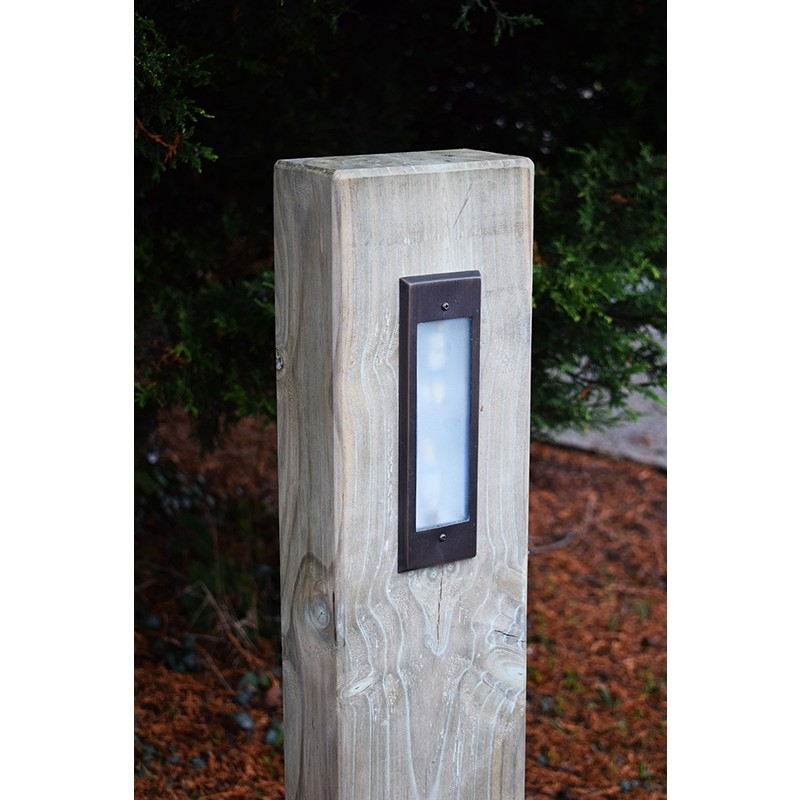 Radiata - Timber Pine Sleeper Bollard with Frosted Brass LED Light (240v) - 2 Height Options