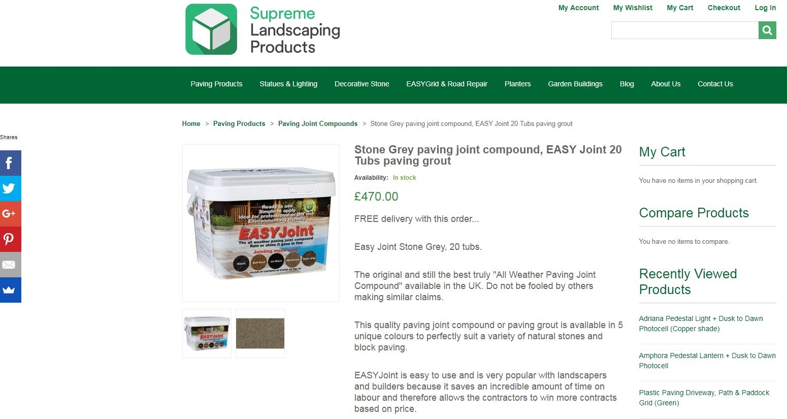 Free pallet delivery for EASY Joint online from Supreme Landscaping Products