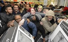 Black Friday crowd frenzy